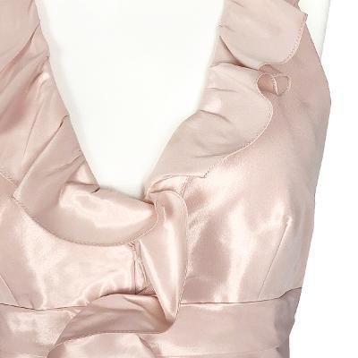 halter neck frill maxi dress pink